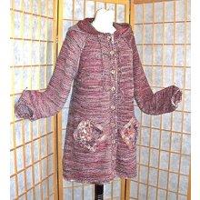 Kabátek kapucí červenobéžový