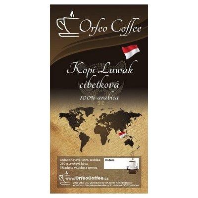 Orfeo coffee Kopi Luwak cibetková 100% arabika zrnková Káva 250 g