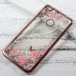 Pouzdro TopQ Huawei P9 Lite 2017 silikon růžové s růžovémi květy