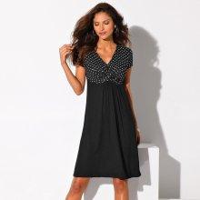 Blancheporte Dvoubarevné úpletové šaty puntíky/černá