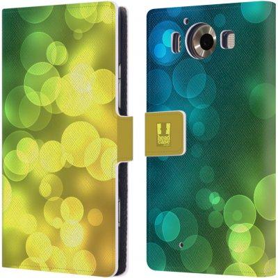 Pouzdro HEAD CASE Microsoft Lumia 950 / LUMIA 950 DUAL SIM BOKEH zářící vzor kruhy modrá a žlutá