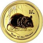 Lunární Zlatá investiční mince Year of the Mouse Rok Myši 1 10 Oz 2008