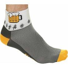 VoXX Ralf X cyklistické ponožky šedá / žlutá