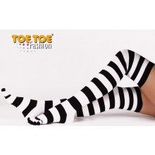 ToeToe Prstové nadkolenky overknee černá / bílá