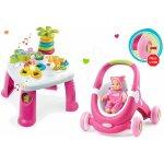 Smoby Didaktický stolík Cotoons s funkciami ružová +kočík a detské chodítko 2v1 MiniKiss