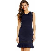 929f121db21b Lovie společenské šaty zdobené krajkou se skládanou sukénkou krátké tmavě  modrá