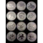 Lunární série II. 12 x 1 kg stříbrných mincí 2008 2019