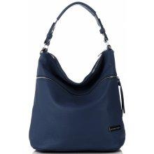 55a2f9966b93 Vittoria Gotti kožená italská kabelka Tmavě modrá