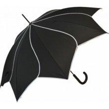 Blooming Brollies Dámský holový vystřelovací deštník Black Swirl EDSSWBL