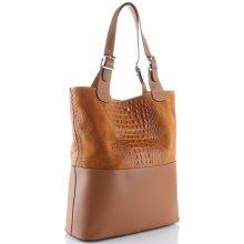 kožená kabelka exkluzivní Shopper bag XXL Zrzavá 12f8a18627e