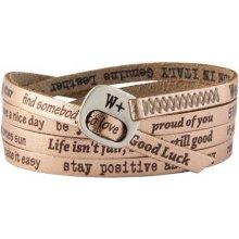 Náramek Wrap v barvě růžového zlata s nápisy 121 We Positive mWP0024