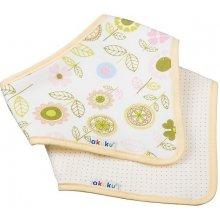 Akuku Multifunkční šátek/slintáček 2ks Kytičky a žluté puntíky