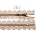 Spirálový zip šíře 3 mm délka 16 cm krajkový 100ks - 8 Kč / ks 307 Biscotti