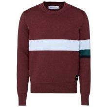 Calvin Klein Jeans Pulovr 'COLOR STRIPE COTTON SWEATER' světlemodrá / vínově červená