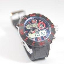 Quamer Outdoor Watch Black/Red + čierný kožený remienok
