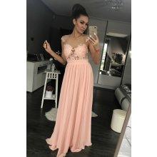 Eva   Lola dámské společenské plesové šaty vyšívané dlouhé růžová 0e6cdb489f3