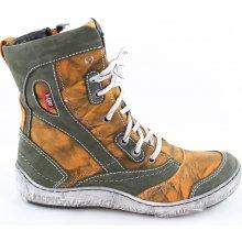 7eae2bcdcdd Kacper 4-4970 Dámské kotníkové boty oranžovo   zelené
