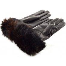 Bohemia hnědé kožené rukavice s kožešinkovou manžetou c93d4cde5e