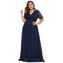 50761416df32 Společenské šaty pro plnoštíhlé dlouhé s krajkou modrá