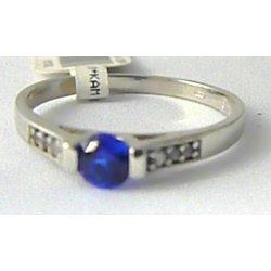 fc63d4317 Zásnubní prsten z bílého zlata s modrým safírem 585/r P631
