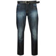 Lee Cooper PU Belted Jeans Mens Indigo