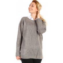 YooY Dámský oversized svetr i pro plnoštíhlé šedá 010cf1e929