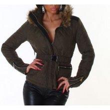 dámské bunda kožešinový límec khaki