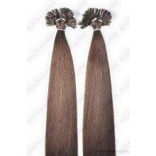VLASY - KERATIN INDIAN REMY EXTENSION 100 pramenů HNĚDÁ 04,100g, 55cm, 100% lidské vlasy k prodloužení
