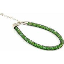 Murano náramek dutinka s krystaly z broušeného skla zelená černá Tubo Conteria 10000542801