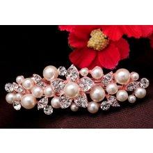 96af269d675 Luxusní vlasová spona s perlami a kamínky KVĚT - bílá zlatá růžová Top48