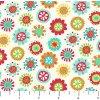 Metráž Northcott/ AlittleBTM - FLANEL - Barevné květinky BÍLÁ