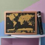 Nástěnná stírací mapa světa Deluxe malá
