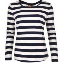 Lee Cooper Long Sleeve Stripe T Shirt Ladies Off White/Navy