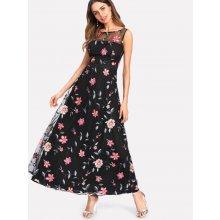 a2a03bca1550 LM moda dlouhé šaty s vyšitými květy 8305 černá