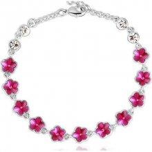 Swarovski Elements náramek PINK FLOWERS rhodiovaná ocel, modré krystaly OI_340207_pink