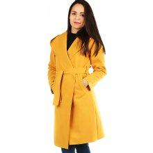 Glara dámský kabát hořčicová