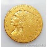 Zlatá mince americký quarter Eagle-indiánský náčelník 2.5 dollar 1908