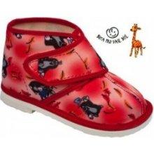Krteček papuče dětské kotníkové polootevřené červené 3f53269106