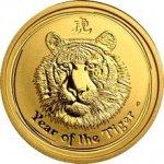 Lunární Zlatá investiční mince Year of the Tiger Rok Tygra 1/4 Oz 2010