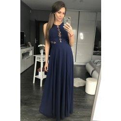 3f669e35c407 Eva   Lola dámské společenské plesové šaty s průstřihy tmavě modrá ...