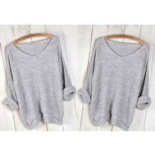 4950ce74662 Fashionweek Báječný pleteny luxusní svetr dámský V-neck MD71 018 šedý