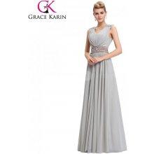 22b585e779f Grace Karin společenské šaty dlouhé CL3401-2 šedá
