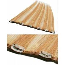 Zhušťovací pás rovné vlasy 50 cm popelavá světlá blond se zlatými melíry