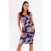 7d5313885 Emamoda dámské šaty bez rukávů s motivem květin středně dlouhé tmavě modrá