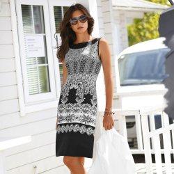 d091615b311d Dámské šaty Blancheporte krátké šaty s potiskem na spodním lemu černá bílá