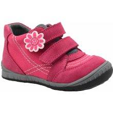 Bugga Dívčí kotníkové boty s kytičkou - růžové
