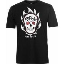 No Fear Skate T Shirt Mens Skull Flames