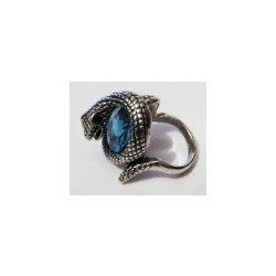 afcdbd6c1 Masivní prsten z chirurgické oceli had s modrým kamenem P-CH-00046 ...