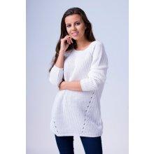 Fashionweek Exkluzivní dámský pletený prodloužený svetr pulover tunika SZOE  Bílá a853d7a519