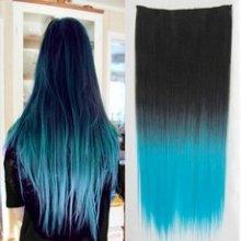 Clip in vlasy - 60 cm dlouhý pás vlasů - ombre styl 1b/světle modrá